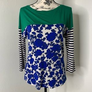 BODEN | Blue & Green Floral Striped Crew Neck Top